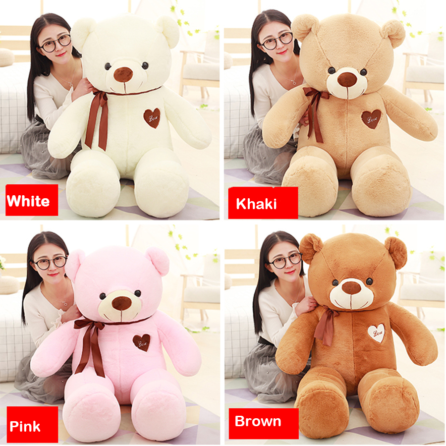 Hanhanho 120cm Large Teddy Bear Plush Doll Stuffed Soft Toy Huge White Bear Wear Bowknot Kids Toys Birthday Gift for Girl stuffed plush toy large 120cm teddy bear plush toy cake bear soft doll throw pillow birthday gift w2980