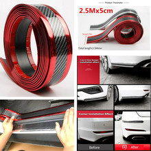 Car Stickers 5D Carbon Fiber Rubber Styling Door Sill Protector Goods For KIA Toyota BMW Audi Mazda Ford Hyundai Accessories 1m carbon fiber rubber styling door sill protector bumper strip diy door sill protector for kia for toyota for bmw accessories