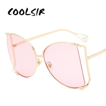 COOLSIR New Luxury Women Cat Eye Eyewear Pearl Decoration Legs Fashion Square Sun Glasses Ladies Gradient Clear Shades UV400