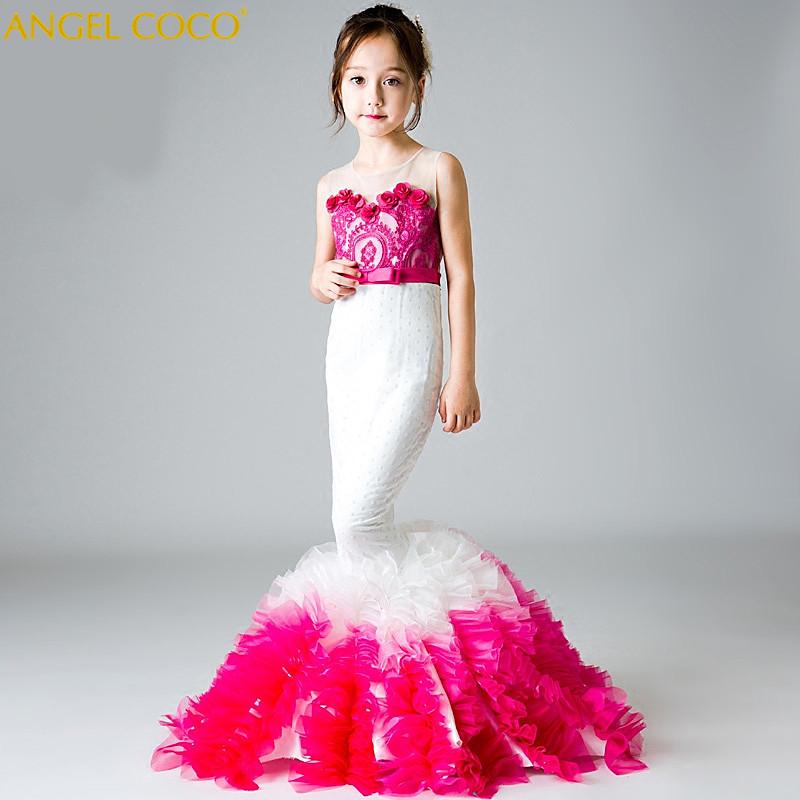 Graduation Dress Mermaid Pageant Dresses for juniors Girls Prom Gowns for Special Occasion Carnival Party Dress Long Prom Gown new arrival 2017 children party dress for girls 2 to 10 years beauty glitz cupcake pageant special occasion dresses baby