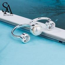 SA SILVERAGE 925 Ayar Gümüş alyanslar Setleri Kadınlar için Güzel Takı Yuvarlak Tatlı Su Incileri Çift Parmak Yüzük Kadınlar