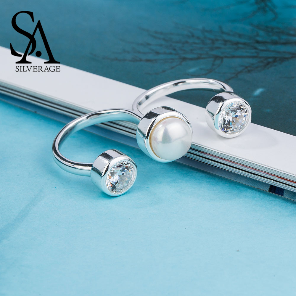 SA SILVERAGE 925 Sterling Silver Wedding Rings Sets For Women Fine Jewelry Round Freshwater Pearls Double Fingers Rings Women