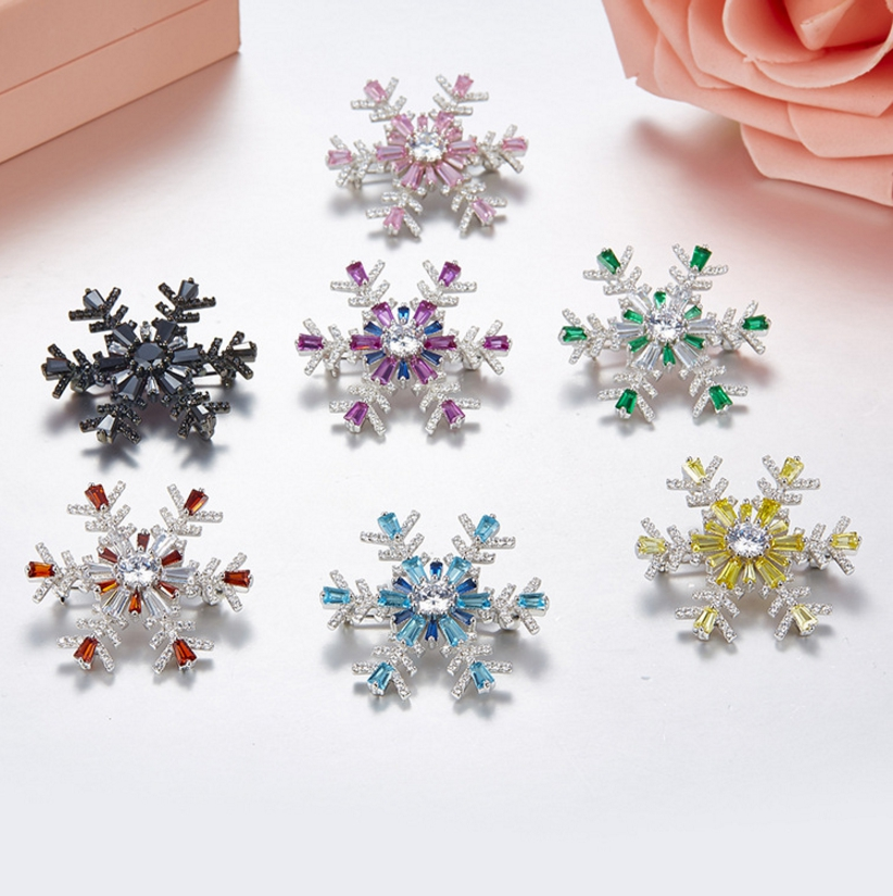 Fashion AAA Zircon Snowflake Flower 925 Sterling Silver Brooch Jewelry Women Colorful Zircon Brooch Pin Women Wedding Jewelry langhong 10pcs viking brooch for women sweden scandinavian viking brooch jewelry talisman women brooch