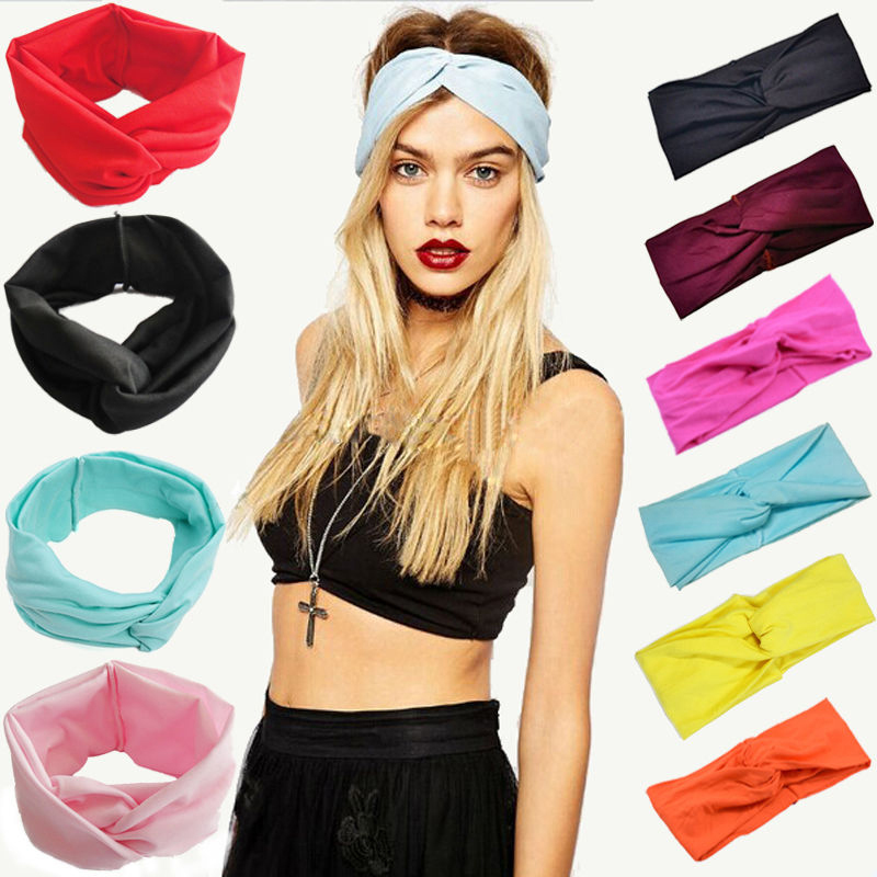 Women Stretch Twist Headband Turban Sport Yoga Head Wrap Bandana   Headwear   Hair Accessories