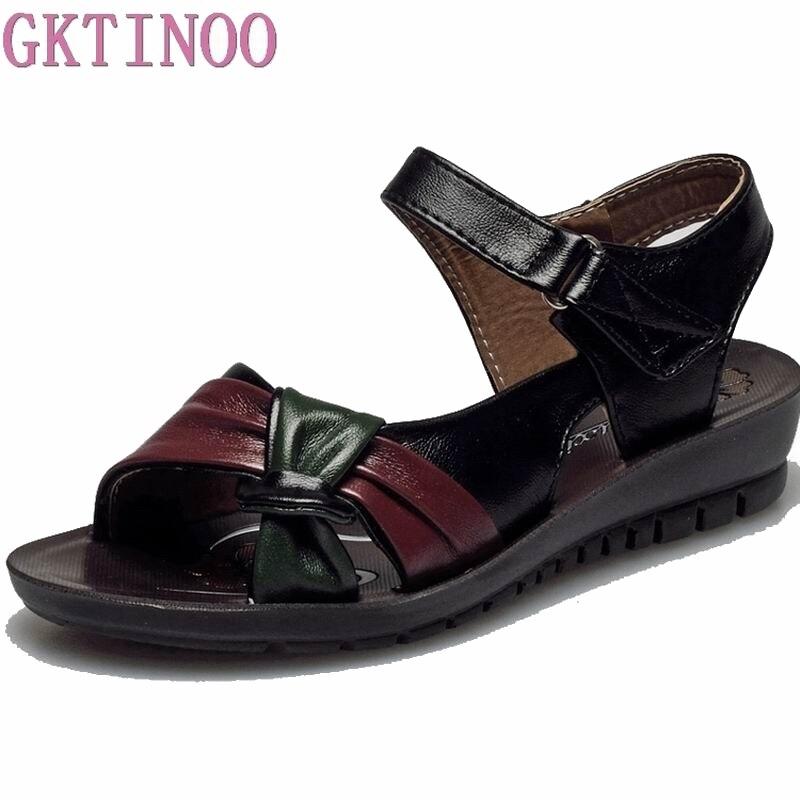 Kenntnisreich Gktinoo Frauen Sandalen Pu Leder Casual Frauen Schuhe Mode Mutter Schuhe Flache Sandalen Mischfarben Damen Schuhe Sommer Sandalen Schuhe