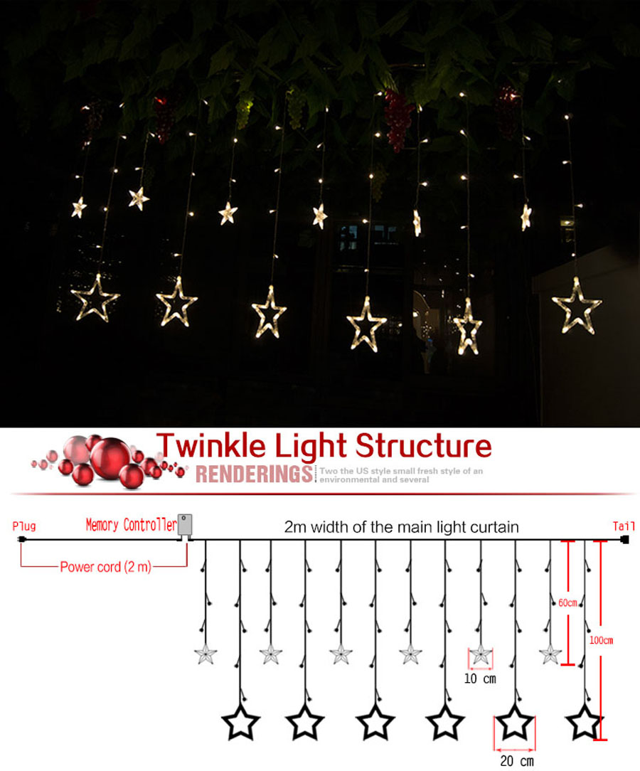 Licht Idee 2 M 48 Led Gordijn Ster String Fairy Light Kerst Decoratie Led Licht Idee Voor Bruiloft Party Salon Familie Kerst Licht