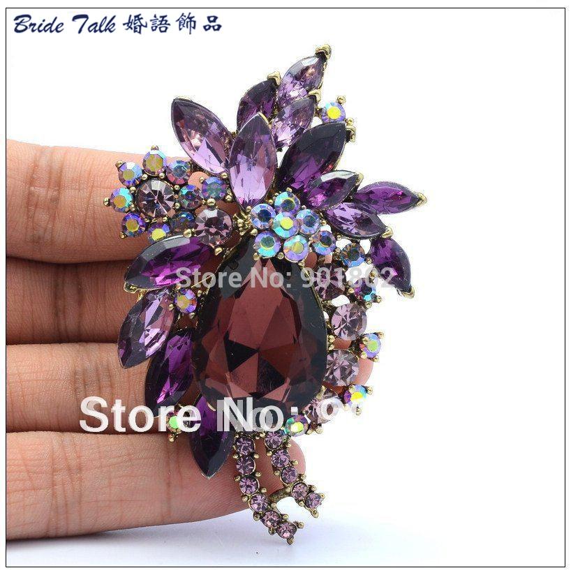 6c7fcc62450ab Queda de moda Retro Flor Broches Pin Cristais Roxo Strass Broche Para  Mulheres Jóias Frete Grátis 4997