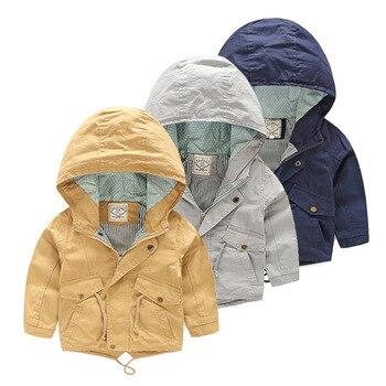 עבור 2-9 Yrs תינוק ילד מעיל מעיל ילדי ברדס מעיל רוח כותנה הלבשה עליונה אביב סתיו מקרית בגדים מוצק צבע ילדים