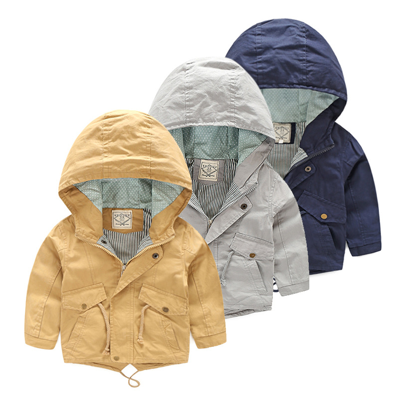 For 2-9 Yrs Baby Boy Jacket Coat Kids Hooded Windbreaker Cotton Outerwear Spring Autumn Casual Clothing Solid Color Children