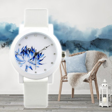 2017 girl reward Enmex temporary Lotus chinese language type authentic design Oriental Sleek Underglaze blue style quartz watches