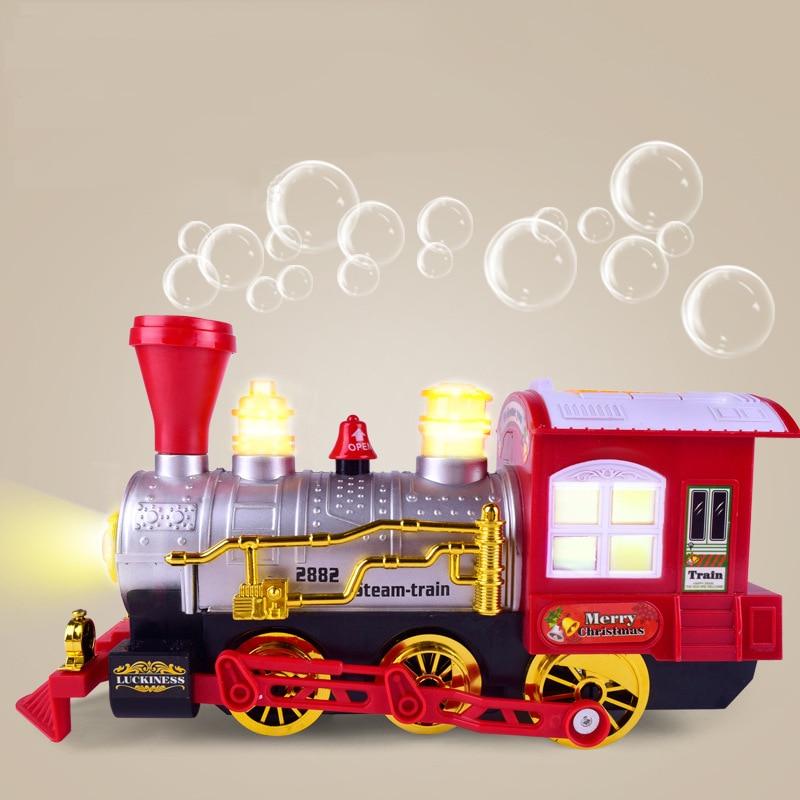 Burbuja de Tren Eléctrico musical burbuja que sopla máquina realista historieta Luz de juguete para niños Juguetes