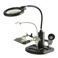 2.5x 4x 돋보기 세 번째 핸드 데스크 램프 납땜 조명 돋보기 led 라이트 돋보기 루페|확대 렌즈|   -