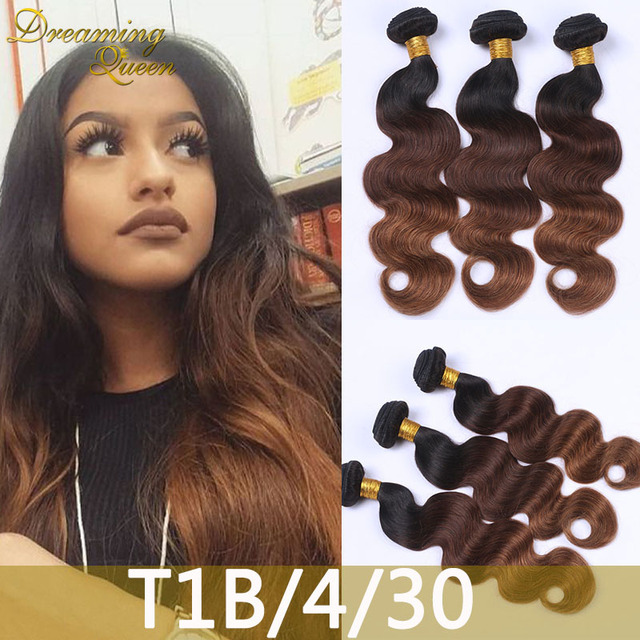 Dark Root Ombre Hair Extensions 1b430 Peruvian Virgin Hair Body