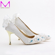 2016 White Pink Lace Flower Bride Shoes Pointed Toe Metal Thin Heel Wedding Shoes Women High Heels Office Dress Shoes Party Pump
