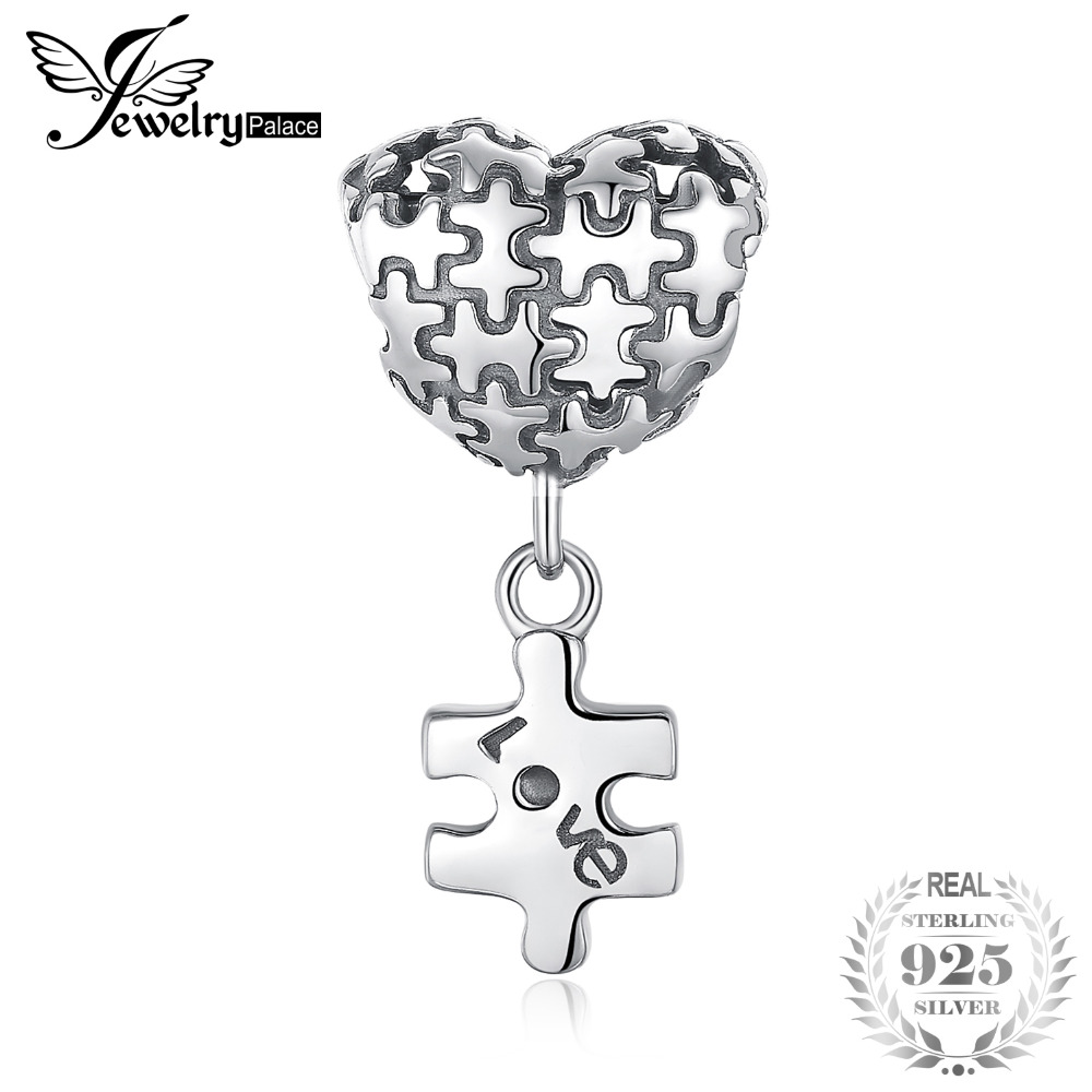 42181d98352a3 JewelryPalace 925 Sterling Silver Jigsaw Heart Puzzle Dangle Love Charm  Fashion For Women 2018 New Hot