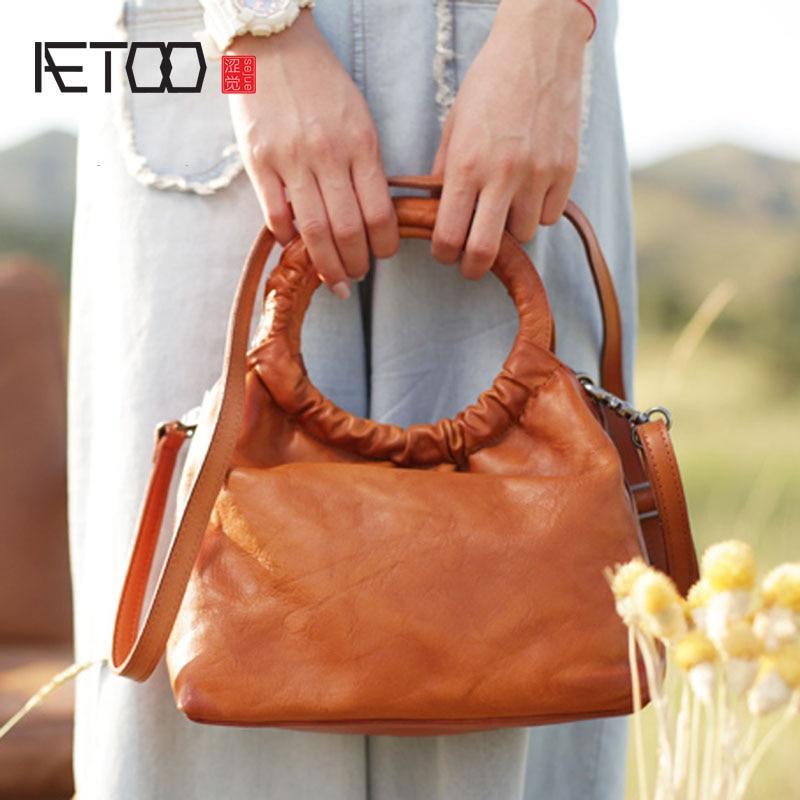 AETOO Original leather handmade bucket bag literary retro national wind female bag Sen small fresh leather shoulder diagonal все цены