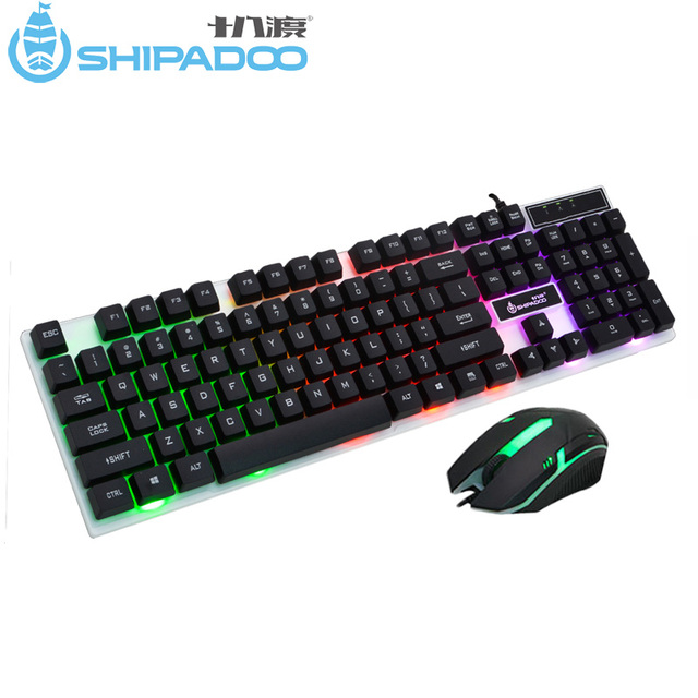 3c7f9dfbc09 K280 USB Wired Computer Keyboard Standard 104 Keys Ergonomic PC Keyboard  with Russian Sticker Rainbow LED