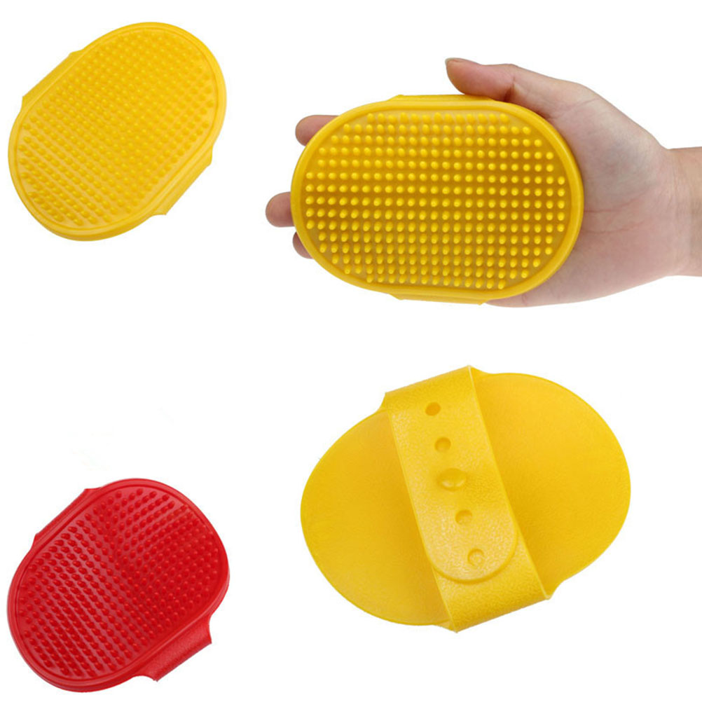 2 Colors Rubber Material Pet Dog Grooming Brush Plastic Puppy Glove Comb For Dog Shower Cleaning Washing