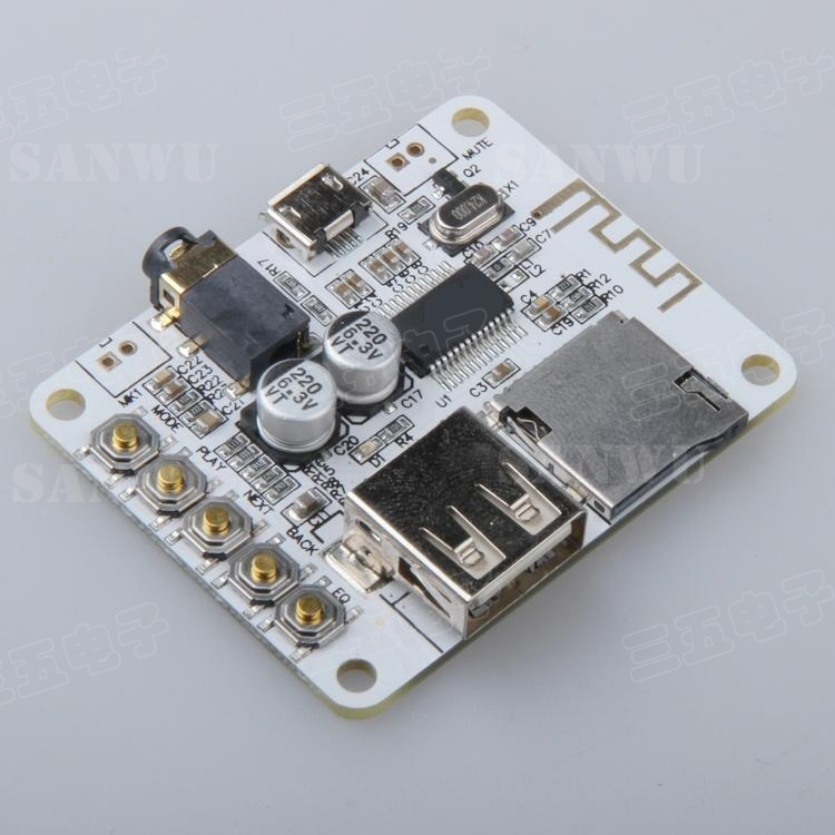 Bluetooth audio receiver board with USB decoding output level before TF Card free shipping output 5v mini bluetooth wireless mp3 decoder board audio module usb tf card durable electronic modules board