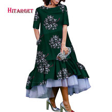 african dresses for women wax clothing Short sleeve lace print elegant woman party/wedding  WY3726