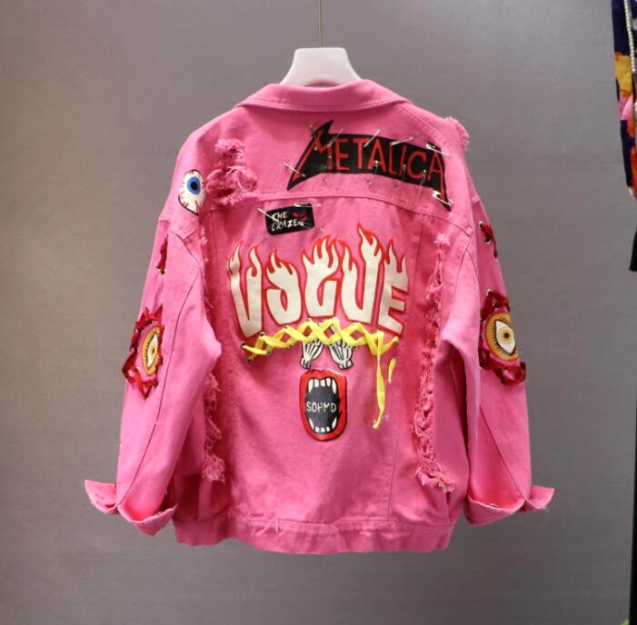 Red / Yellow Jeans   Jacket   New Spring Autumn Women's Graffiti Alphabet Printing Lace Bow Pin Hole Denim   Jacket   Student   Basic   Coat