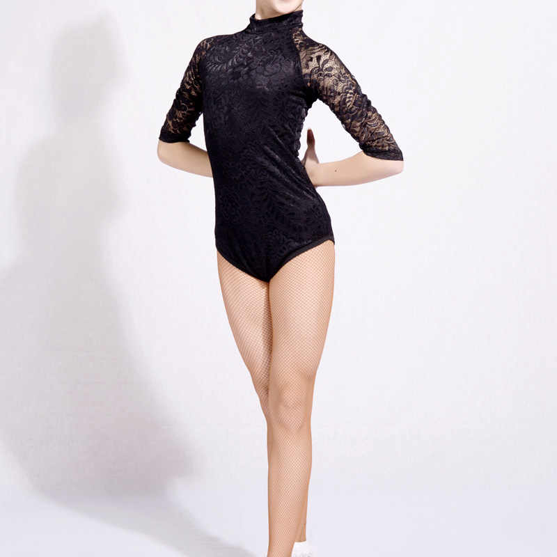 3e46d9cab7 2018 Latin Dance Shirts Girls Lace Mid Sleeve Dancing Tops Sexy Leotard  Salsa Tango Clothes Competition