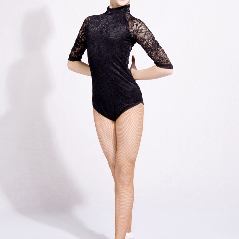 2018 Latin Dance Shirts Girls Lace Mid Sleeve Dancing Tops Sexy Leotard Salsa Tango Clothes Competition Performance Wear DN1435