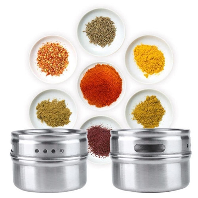 New Arrive Condiment Bottles Stainless Steel Magnetic Spice Storage Jar Tins Container With Rack Holder s9