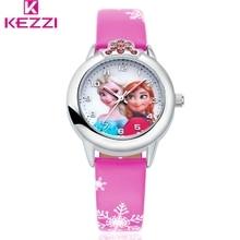 KEZZI Marca Kid Watcehs Chica Estudiante Reloj de pulsera Correa de Cuero Reloj de Cuarzo Ocasional Para La Muchacha. Children Precioso Reloj de la Historieta Relojes