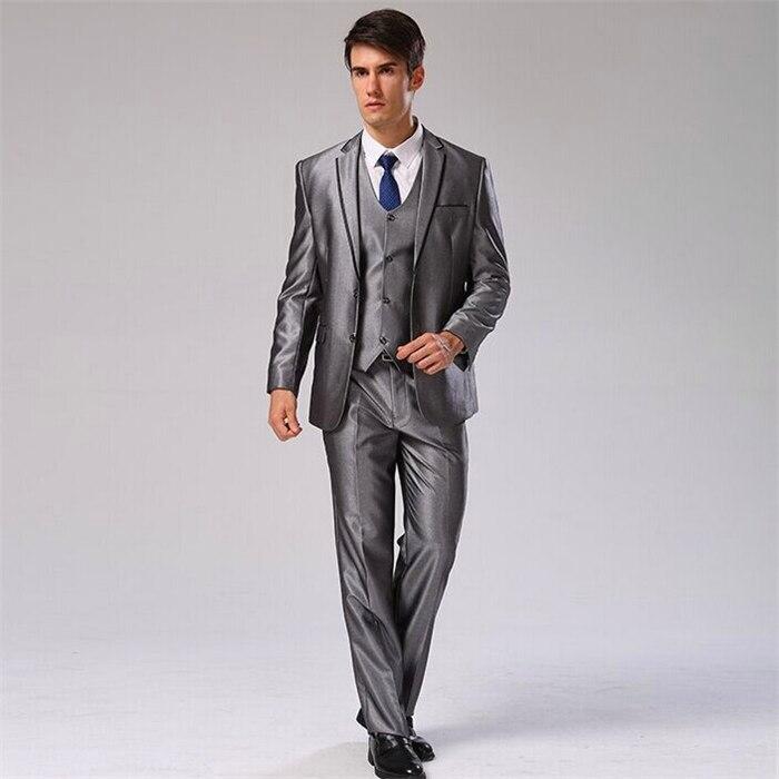Куртка+ Брюки для девочек+ жилет+ галстук) мужской костюм Slim Fit Повседневное Свадебное Платье Блейзер формальный Бизнес костюм плюс Размеры Для мужчин смокинг cbj-f1318 - Цвет: silver grey