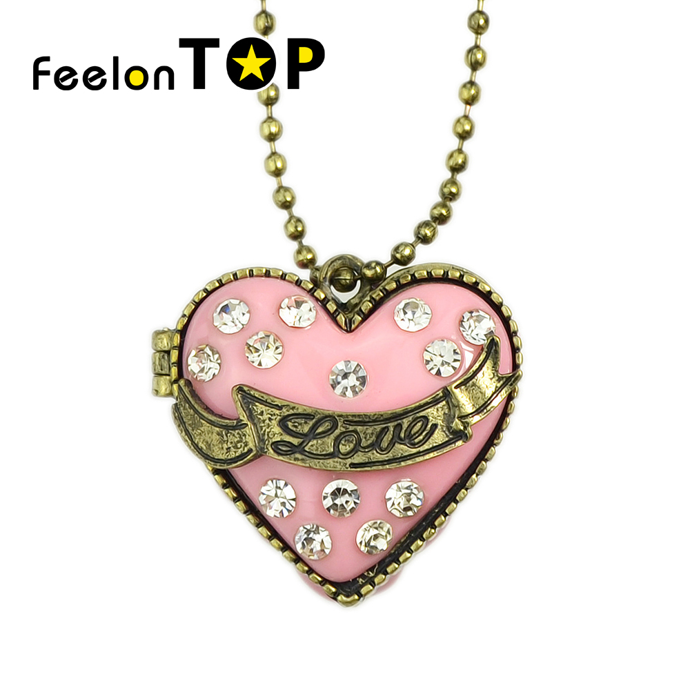 Gold Color Chains Pink Enamel Heart Openable Box