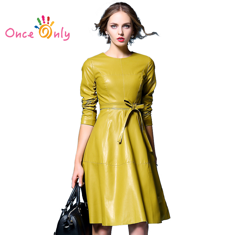Online Buy Wholesale long sleeve faux leather dress from China ...