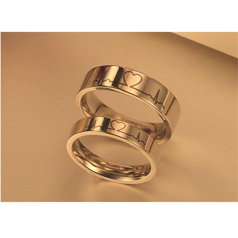 SHUANGR 1pcs Titanium Steel Ring Unique Electrocardiogram Pattern Engagement Rings Women & Men Wedding Jewelry Couple Rings