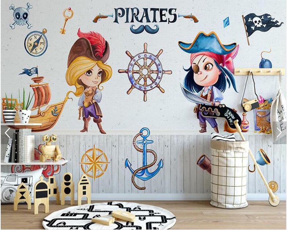 Custom kids wallpaper, simple cartoon pirate mural for living room ...