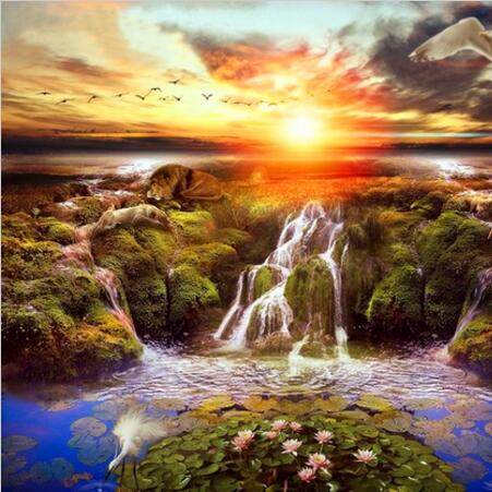 Sunset River Needlework full embroidery painting cross stitch scenery diy diamond painting kits crystal square diamond