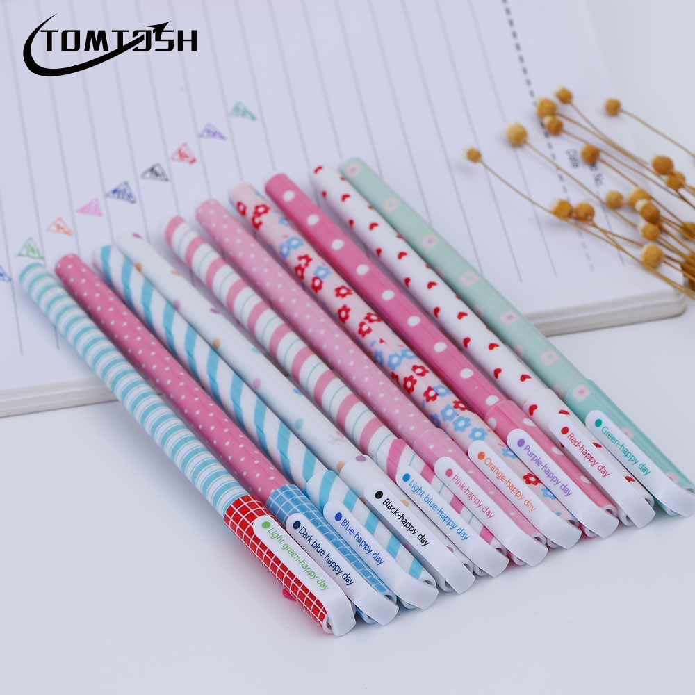 TOMTOSH 2017 New 10 Pcs/Color Gel Pen Kawaii Stationery Korean Flower Canetas Escolar Papelaria Gift Office School Supplies