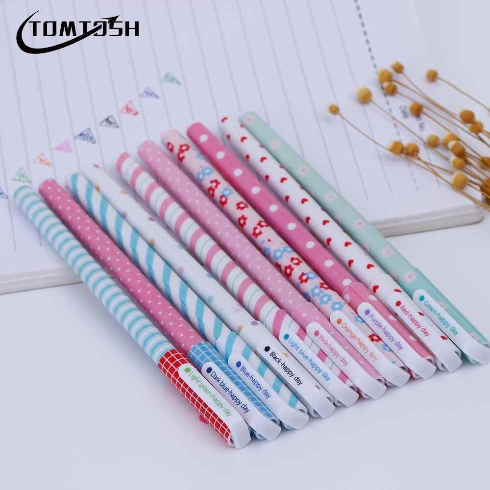 TOMTOSH 2017 Nuevo 10 piezas/lápiz de Gel de Color Kawaii papelería Canetas de flores coreanas Escolar Papelaria regalo Oficina suministros escolares