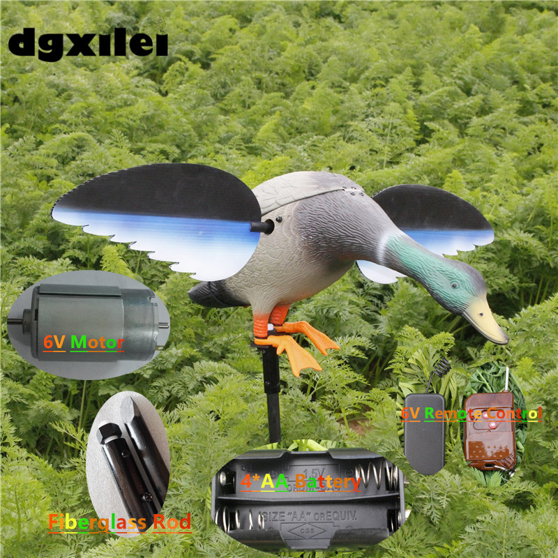 2017 Xilei Wholesale Outdoor Russian Factory Directly Sell Dc 6V Remote Control Duck Mallard Duck Decoys Spinning Wings