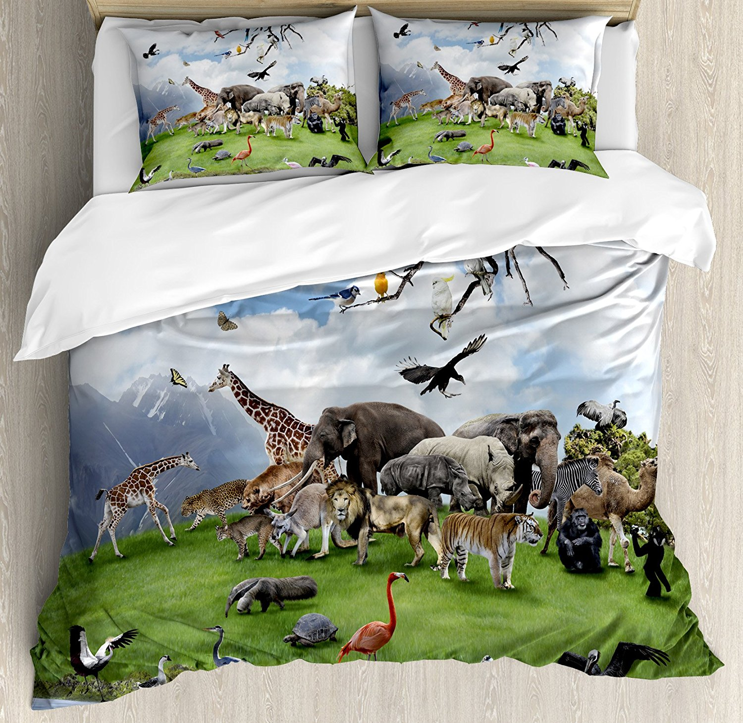 Wildlife Decor Duvet Cover Set Tropic Animal Collage in the Valley with Lion Parrot Swans Elephants Flamingos Bedding Set MultiWildlife Decor Duvet Cover Set Tropic Animal Collage in the Valley with Lion Parrot Swans Elephants Flamingos Bedding Set Multi