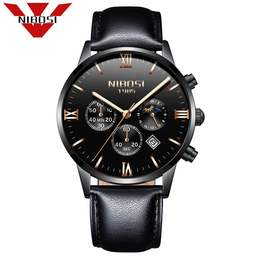 NIBOSI Mens Watches Top Brand Luxury Leather Waterproof Male Clock Quartz Watch Men Sport Fashion Wristwatch Relogio Masculino hongc watch men quartz mens watches top brand luxury casual sports wristwatch leather strap male clock men relogio masculino