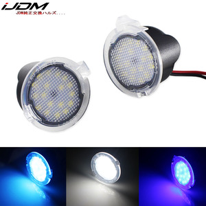 iJDM Xenon white Full LED Side Mirror Puddle Lights For Ford F150 Edge Flex Taurus LED puddle light assembly Blue Ice blue 12V