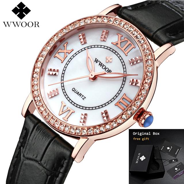 WWOOR 2019 Women Watches Top Brand Luxury Fashion Ladies Rhinestone Black Leather Watches Elegant Watches For Women Reloj Mujer