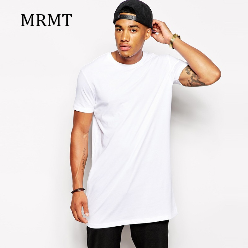 2018 weiß Casual Lange Größe Herren Hip hop Tops StreetWear extra lange t-shirts für männer Longline t-shirt Kurzarm t-shirt