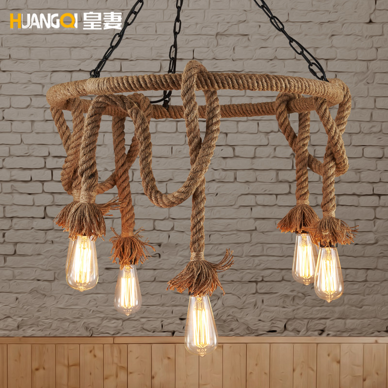Huang's wife loft Nordic retro lamps American country hemp clothing store Cafe chandelier Chandelier american living room retro art chandelier nordic country antler chandelier clothing store villa candle lamp