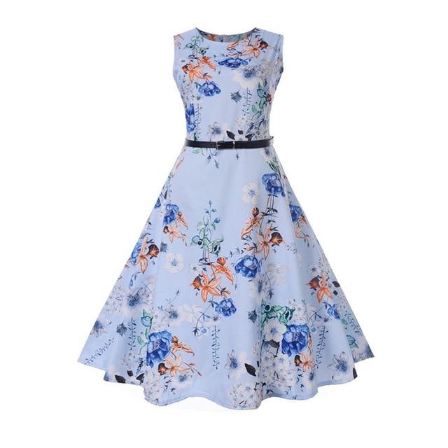 6c3fc77ba22 Tunic Vestidos Plus Size Women Dress Summer Floral Print Retro Dress ...
