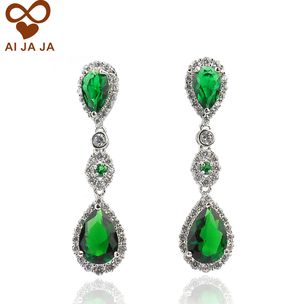 Top Quality Micro Insert Water Drop Green Earrings Gift For Women Sparkling Wedding Party Jewelry In From Accessories On