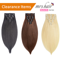 MRSHAIR Clip In Human Hair Extensions Straight 8pc Set Machine Made Remy Clip Ins Full Hair Brazilian Hair Blonde 14 16 18 20 22