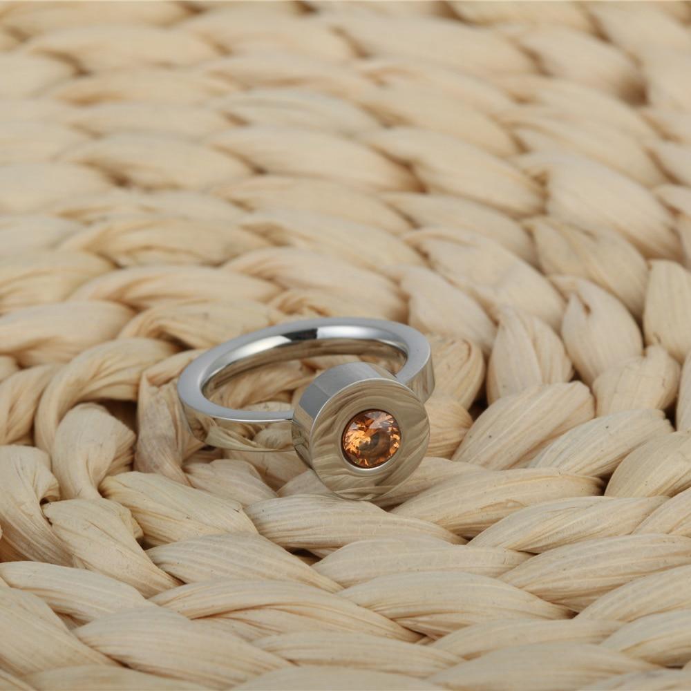 yellow CZ stone color titanium steel ring