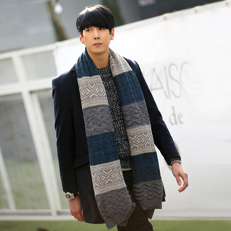 d8a9bbd72e8a6 Korean men 's long scarf autumn and winter thick wool scarves young  students couple knit Scarves & Wraps-in Men's Scarves from Apparel  Accessories on ...