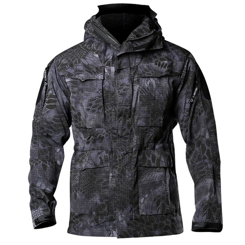 M65 Jacket Python Camouflage US Army Tactical Field For Men Waterproof Autumn Coat with Hooded Windbreaker Case Pilot Jackets 65 95 55mm waterproof case